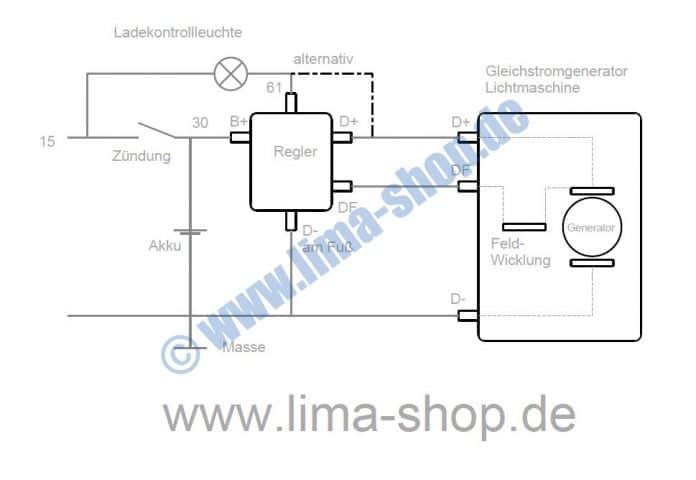 Schaltplan für den Anschluss eines Reglers der Gleichstromlichtmaschine
